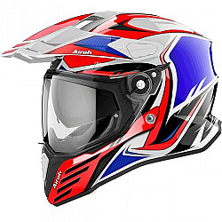 Casca AIROH COMMANDER CARBON RED/BLUE GLOSS